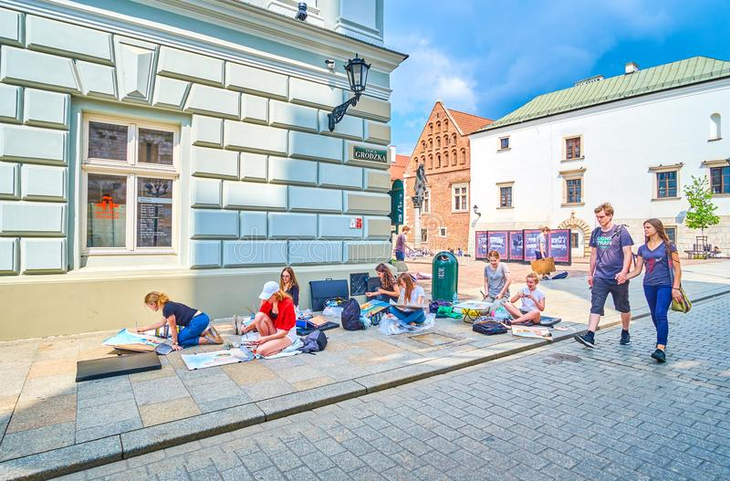 创造的绘画,克拉科夫,波兰最佳的地方 库存照片
