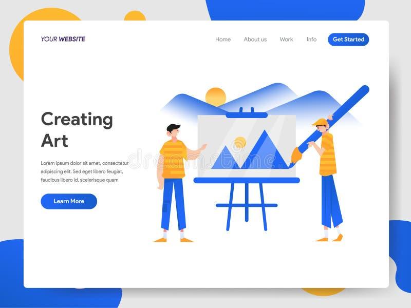 创造美术例证概念登陆的页模板  网页设计的现代设计概念网站和机动性的 向量例证