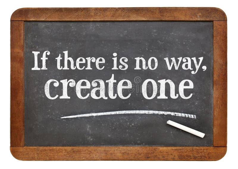 创造解答-在黑板的otivational词组 免版税库存图片