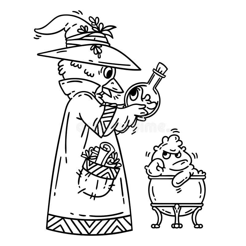 创造逗人喜爱的妖怪的魔术师 方士在白色背景的被隔绝的对象 外籍动画片猫逃脱例证屋顶向量 着色页 向量例证