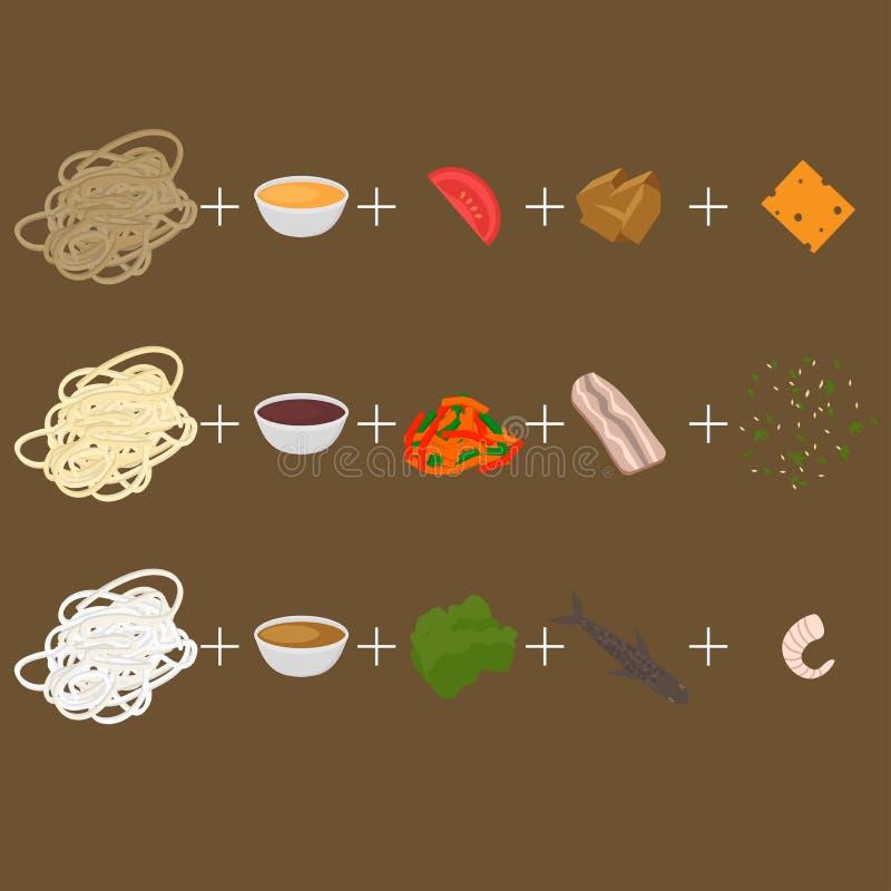 创造铁锅 套韩国,泰国和中国食物平的设计元素 亚洲街道食物菜单 传统盘面条和ingredi 库存例证