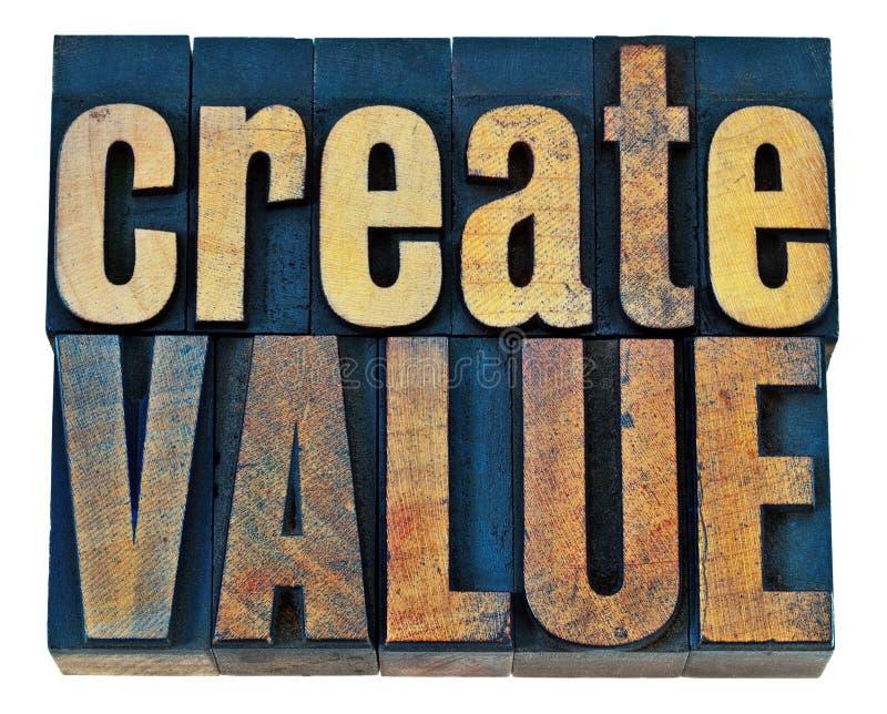 创造价值木头印刷术 免版税库存照片