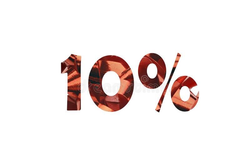删去与的第10从一张红色礼物圈图片百分号 免版税库存图片