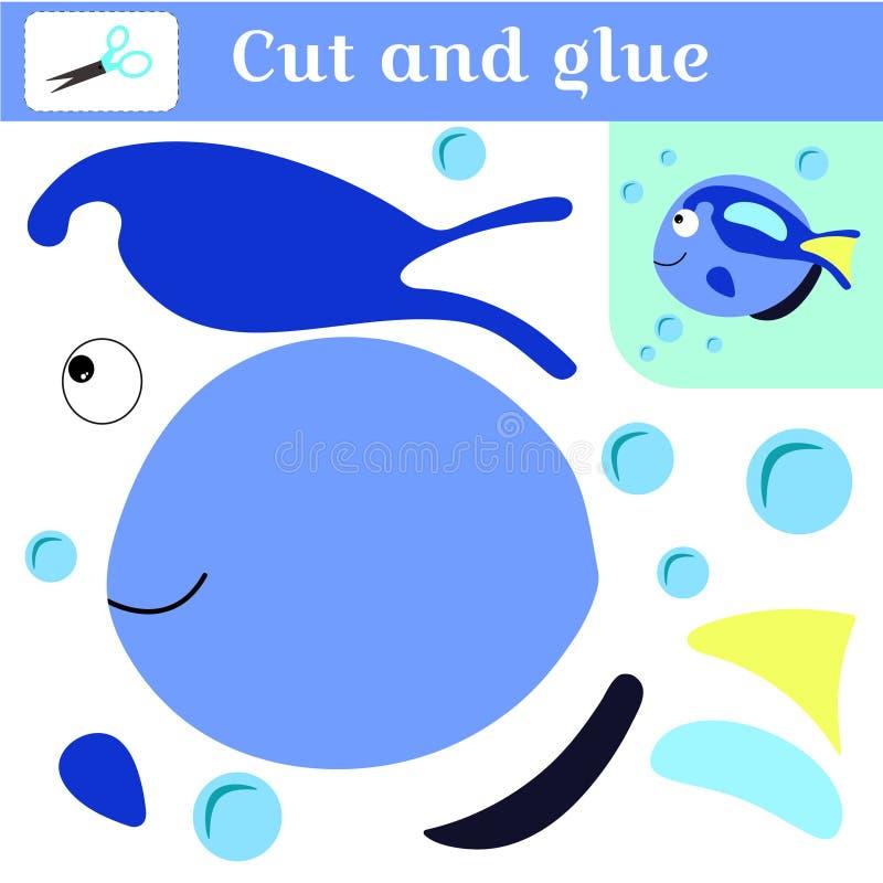 删去和胶浆 学龄前儿童的纸针比赛 难题-补花 手工制造创造鱼 蓝色鱼和泡影 库存例证