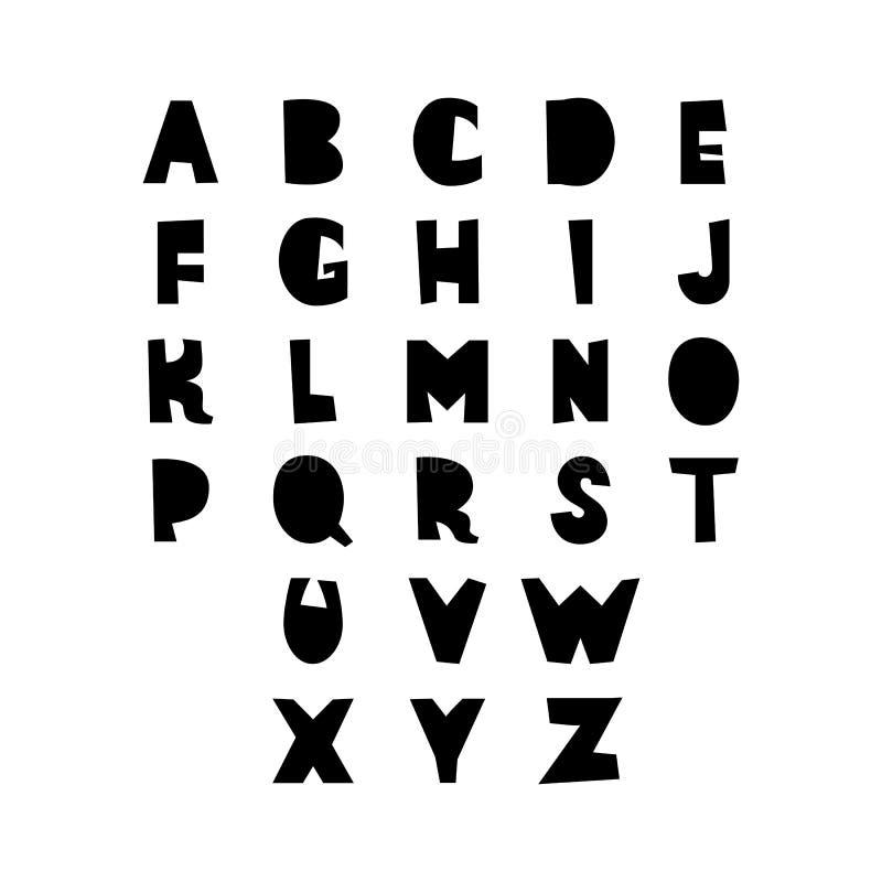 删去纸工艺字母表 乱画手拉的拉丁装饰字体标志 传染媒介商标设计元素 皇族释放例证
