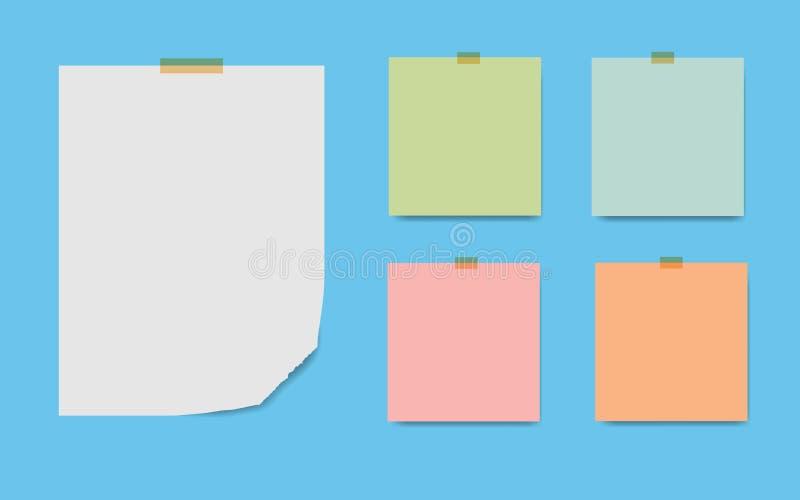 删去被摆正的笔记薄页和磁带 便条纸忠心于beig 库存例证