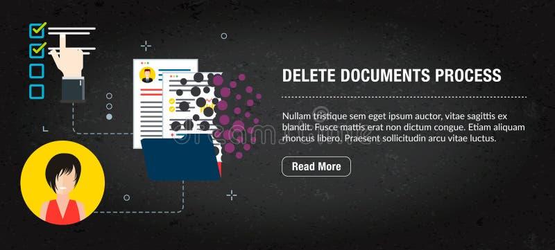 删除文件,有象的横幅互联网在传染媒介 皇族释放例证