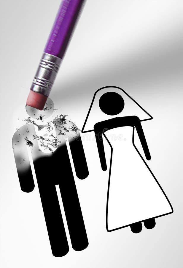 删除新郎或者丈夫,婚姻图画的橡皮擦 免版税库存图片
