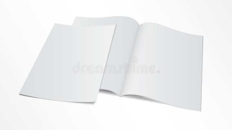 删去与盖子的被打开的杂志模板 库存例证
