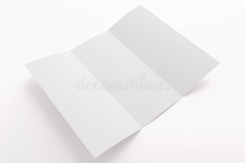删去在白色隔绝的被打开的三部合成的小册子 免版税库存图片