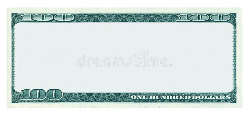 删去100美元在白色隔绝的钞票样式 库存照片