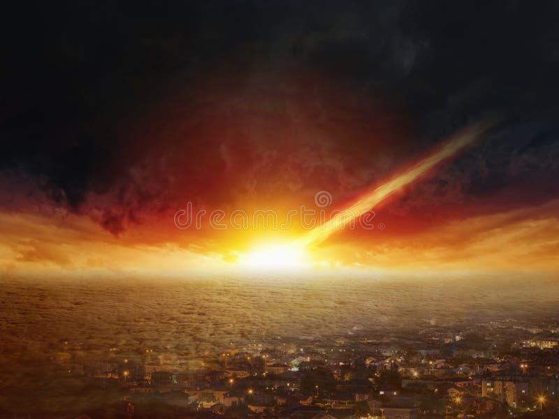 判决日,世界的末端,小行星冲击 免版税图库摄影