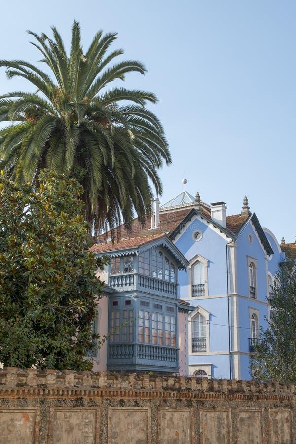 利亚内斯,阿斯图里亚斯,西班牙的传统建筑学 免版税库存图片