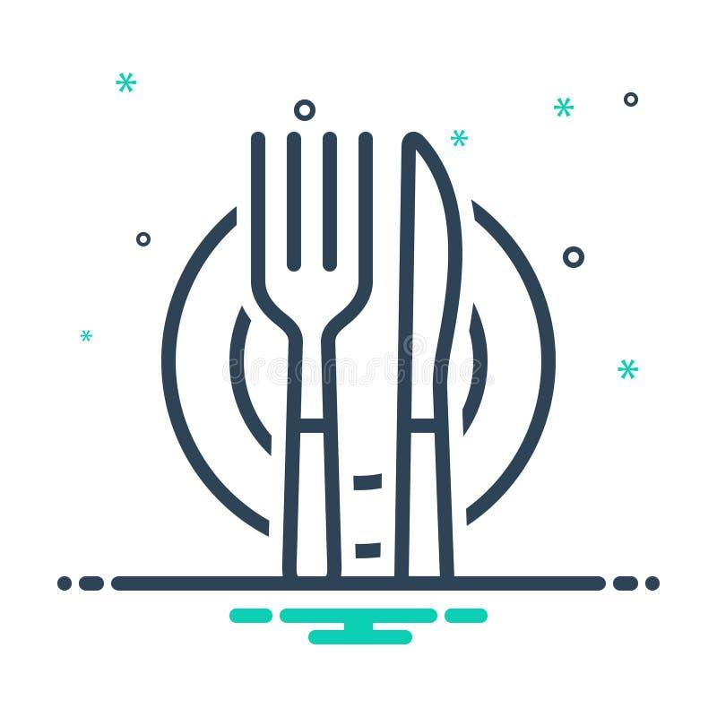 利器、银器和餐具的黑混合象 向量例证