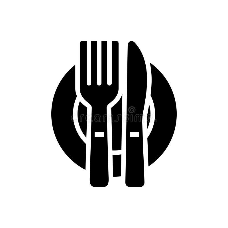 利器、餐馆和餐具的黑坚实象 库存例证