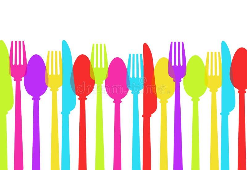利器背景上色匙子,叉子,刀子,储蓄传染媒介Il 库存例证