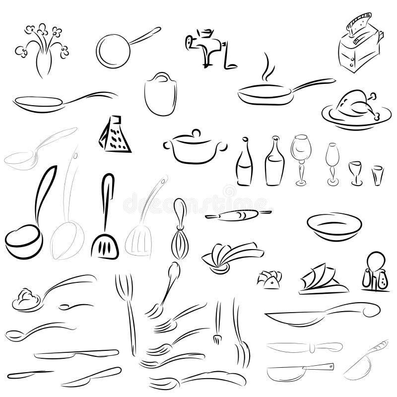 利器,餐具 匙子,叉子,刀子,杓子,罐,平底锅 库存例证