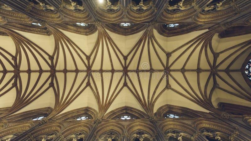 利奇菲尔德大教堂-天花板内部在教堂中殿 免版税库存照片