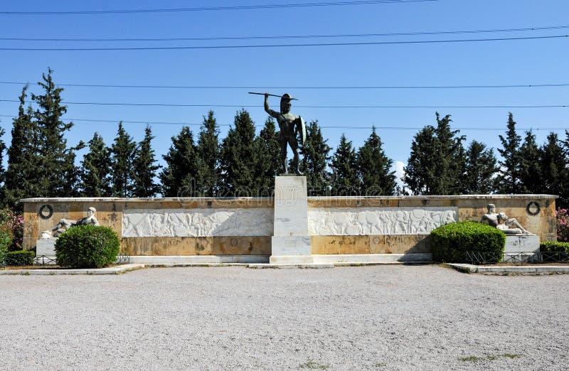 利奥尼达斯雕象在Thermopylae,希腊 图库摄影