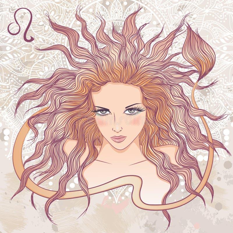 利奥的占星术标志作为美丽的女孩画象  向量例证