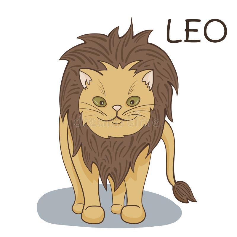 利奥黄道带;动画片当利奥黄道带被传统化的猫字符;传染媒介例证EPS10 库存照片