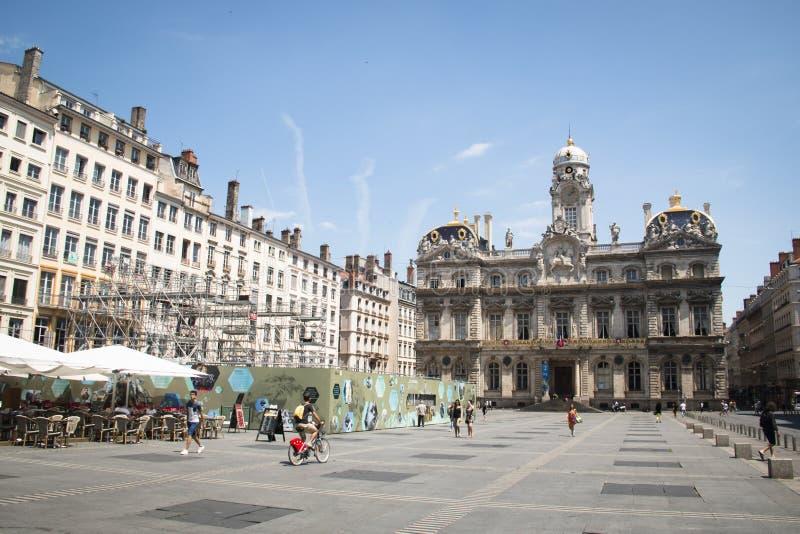 利昂,法国大广场  免版税库存图片