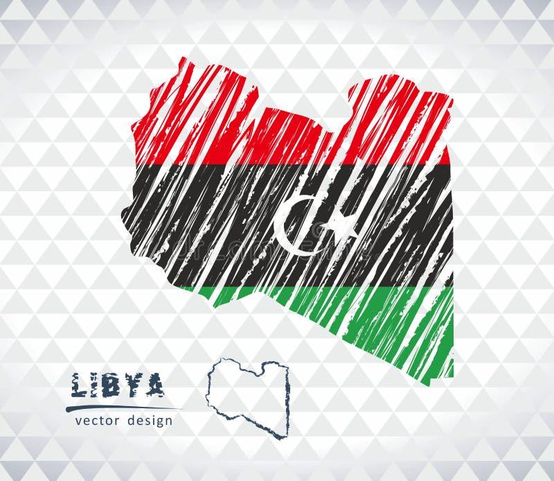 利比亚与在白色背景隔绝的旗子里面的传染媒介地图 剪影白垩手拉的例证 皇族释放例证