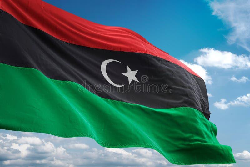 利比亚全国沙文主义情绪的蓝天背景现实3d例证 向量例证