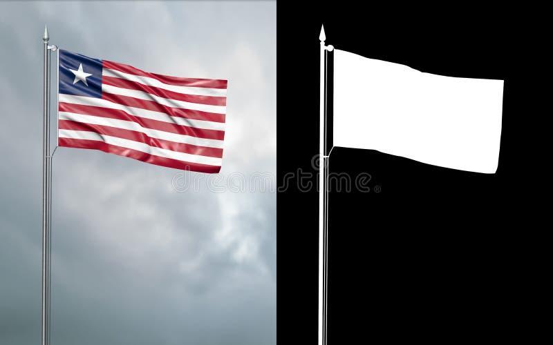 利比亚共和国的状态旗子有阿尔法通道的 皇族释放例证