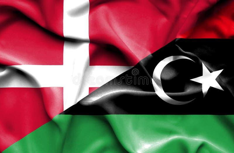 利比亚和丹麦的挥动的旗子 向量例证
