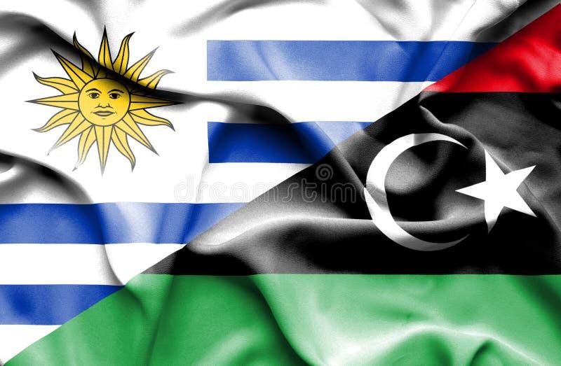 利比亚和乌拉圭的挥动的旗子 库存例证