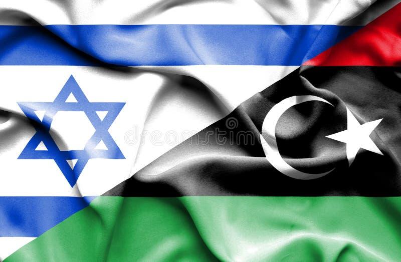 利比亚和以色列的挥动的旗子 皇族释放例证