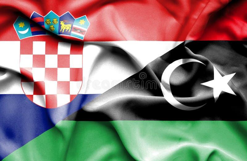 利比亚和克罗地亚的挥动的旗子 向量例证