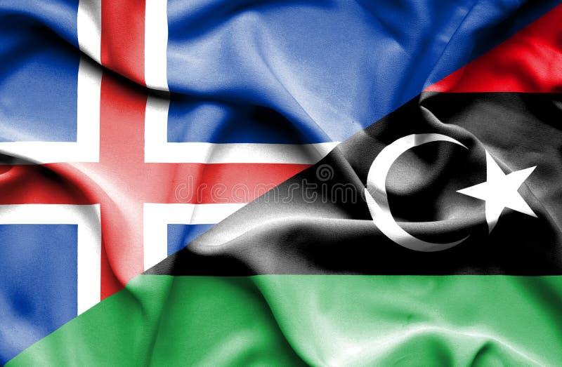 利比亚和冰岛的挥动的旗子 库存例证