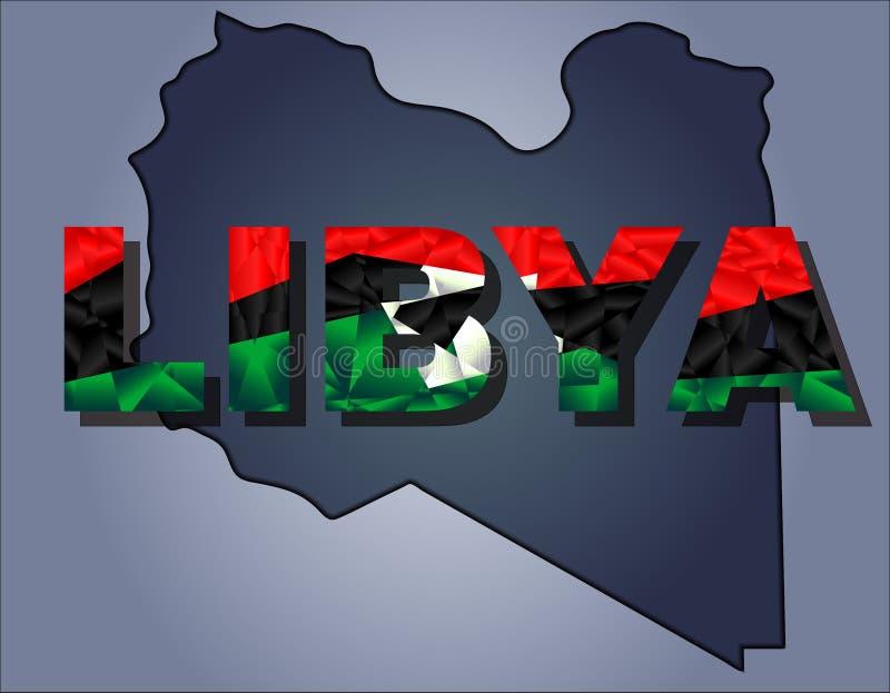 利比亚和利比亚词疆土等高在国旗的颜色的 向量例证