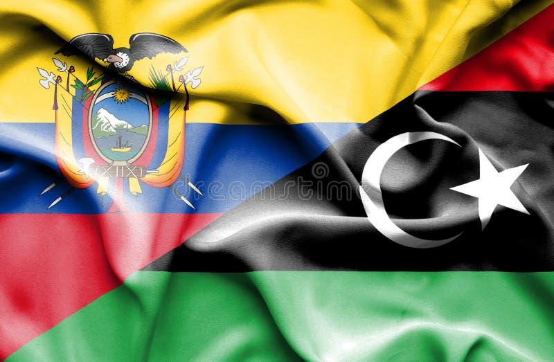 利比亚和厄瓜多尔的挥动的旗子 向量例证