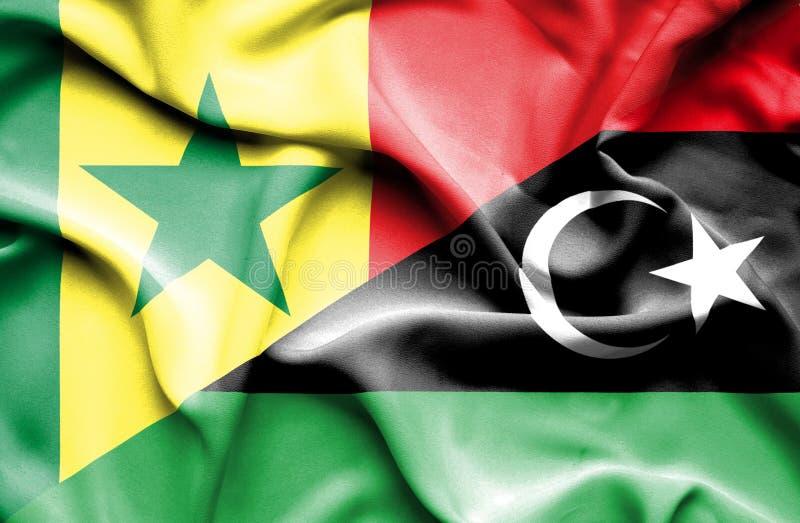 利比亚和塞内加尔的挥动的旗子 向量例证