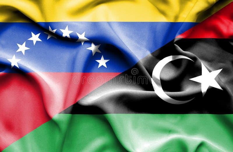 利比亚和委内瑞拉的挥动的旗子 库存例证