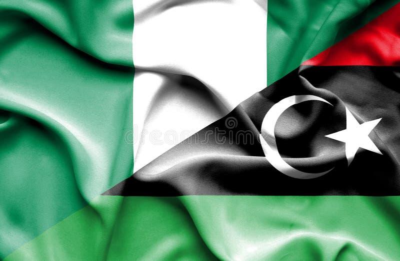 利比亚和尼日利亚的挥动的旗子 向量例证