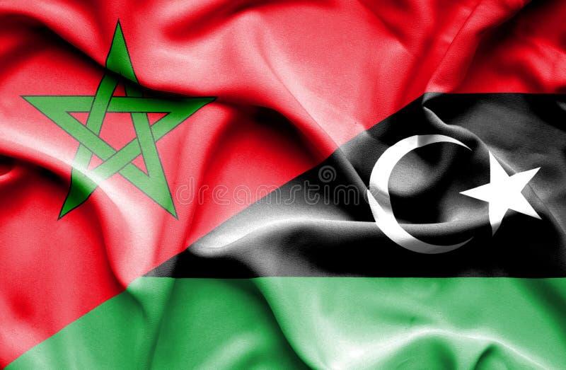 利比亚和摩洛哥的挥动的旗子 库存例证