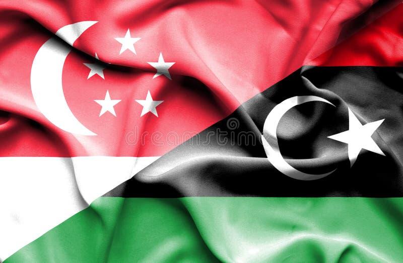 利比亚和新加坡挥动的旗子  皇族释放例证