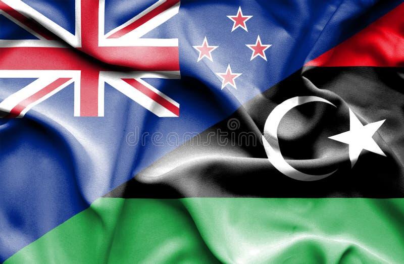 利比亚和新西兰的挥动的旗子 向量例证