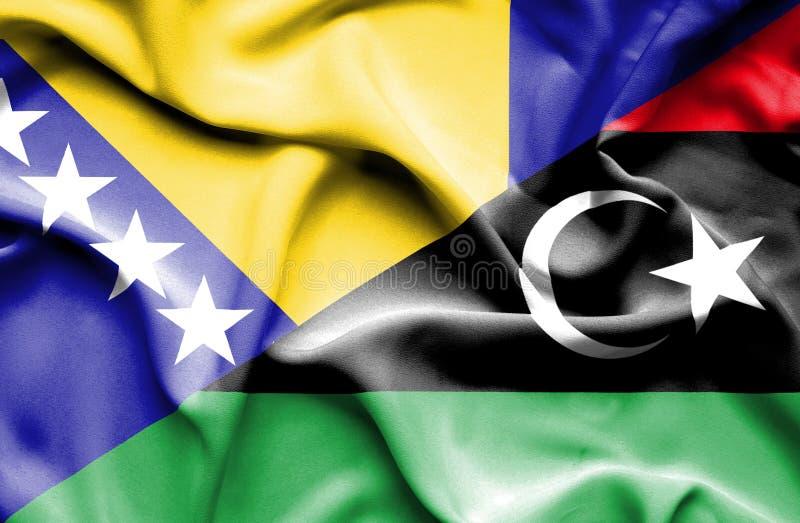 利比亚和波黑的挥动的旗子 库存例证