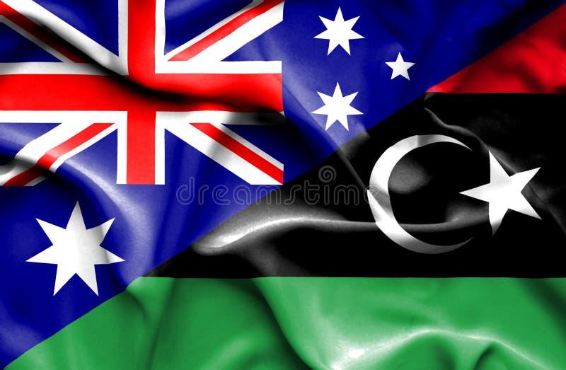 利比亚和澳大利亚澳大利亚的挥动的旗子 向量例证