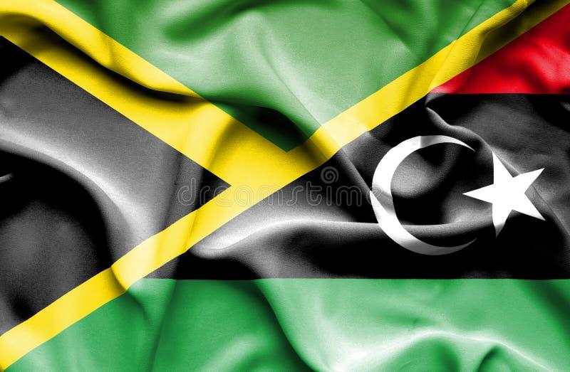 利比亚和牙买加的挥动的旗子 皇族释放例证