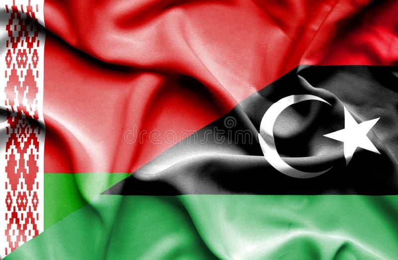 利比亚和白俄罗斯的挥动的旗子 库存例证
