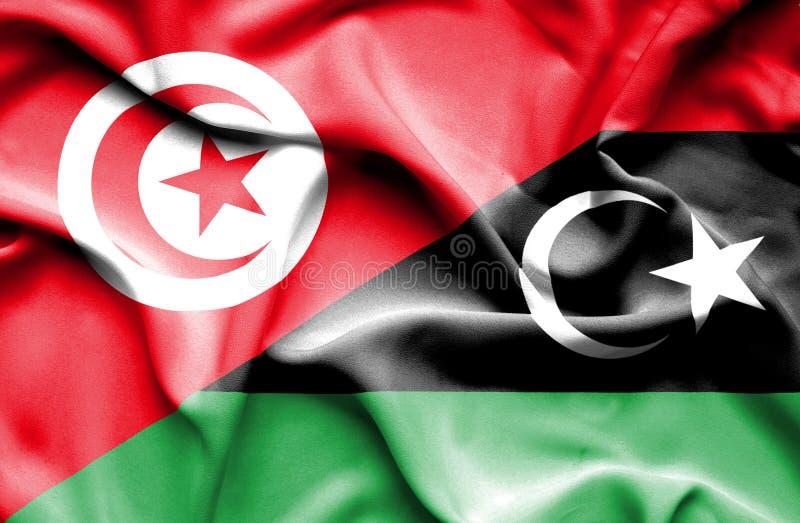 利比亚和突尼斯的挥动的旗子 库存例证