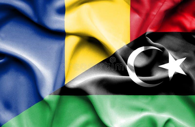 利比亚和罗马尼亚的挥动的旗子 皇族释放例证