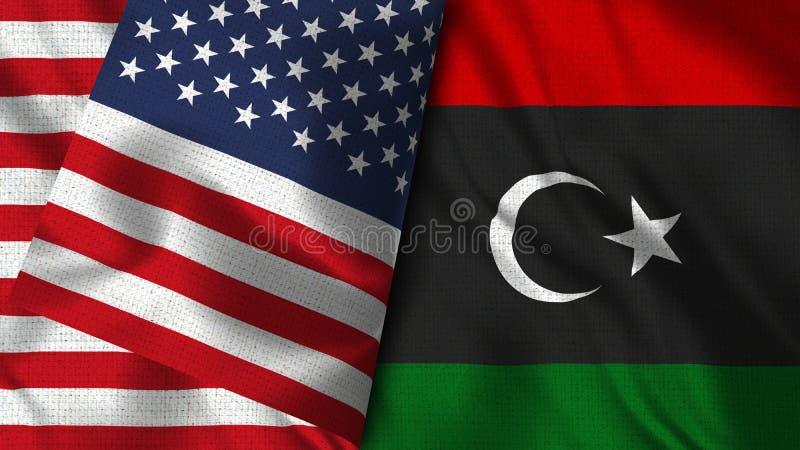 利比亚和美国旗子- 3D例证两旗子 皇族释放例证