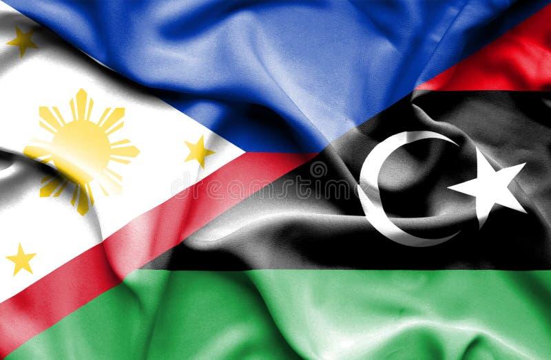 利比亚和菲律宾挥动的旗子  向量例证